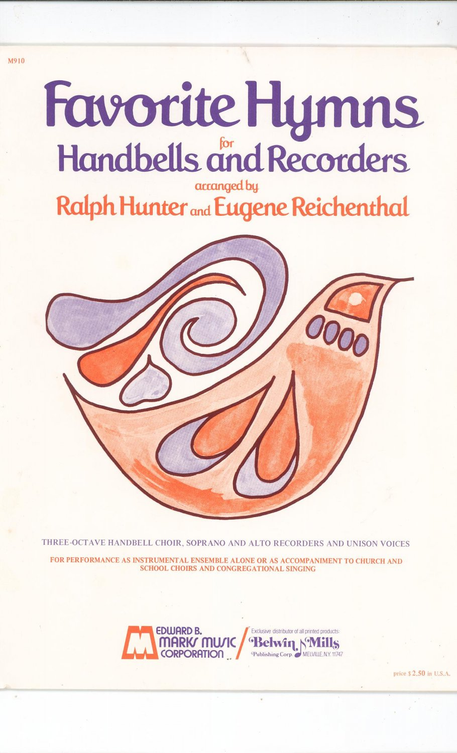 Favorite Hymns For Handbells And Recorders By R. Hunter & E. Reichenthal