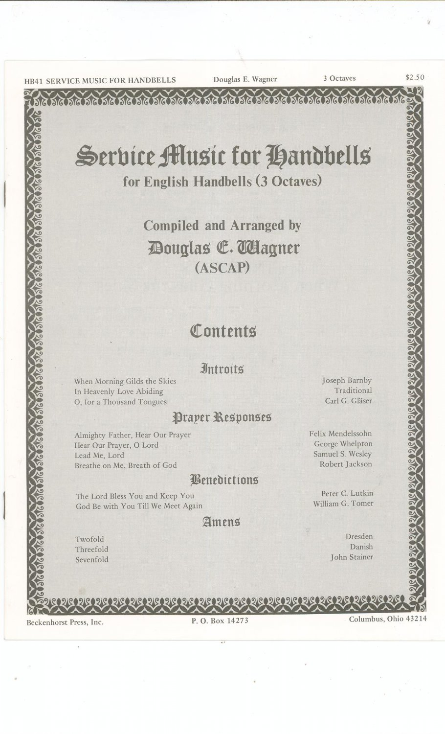 Service Music For Handbells By Douglas E. Wagner HB41