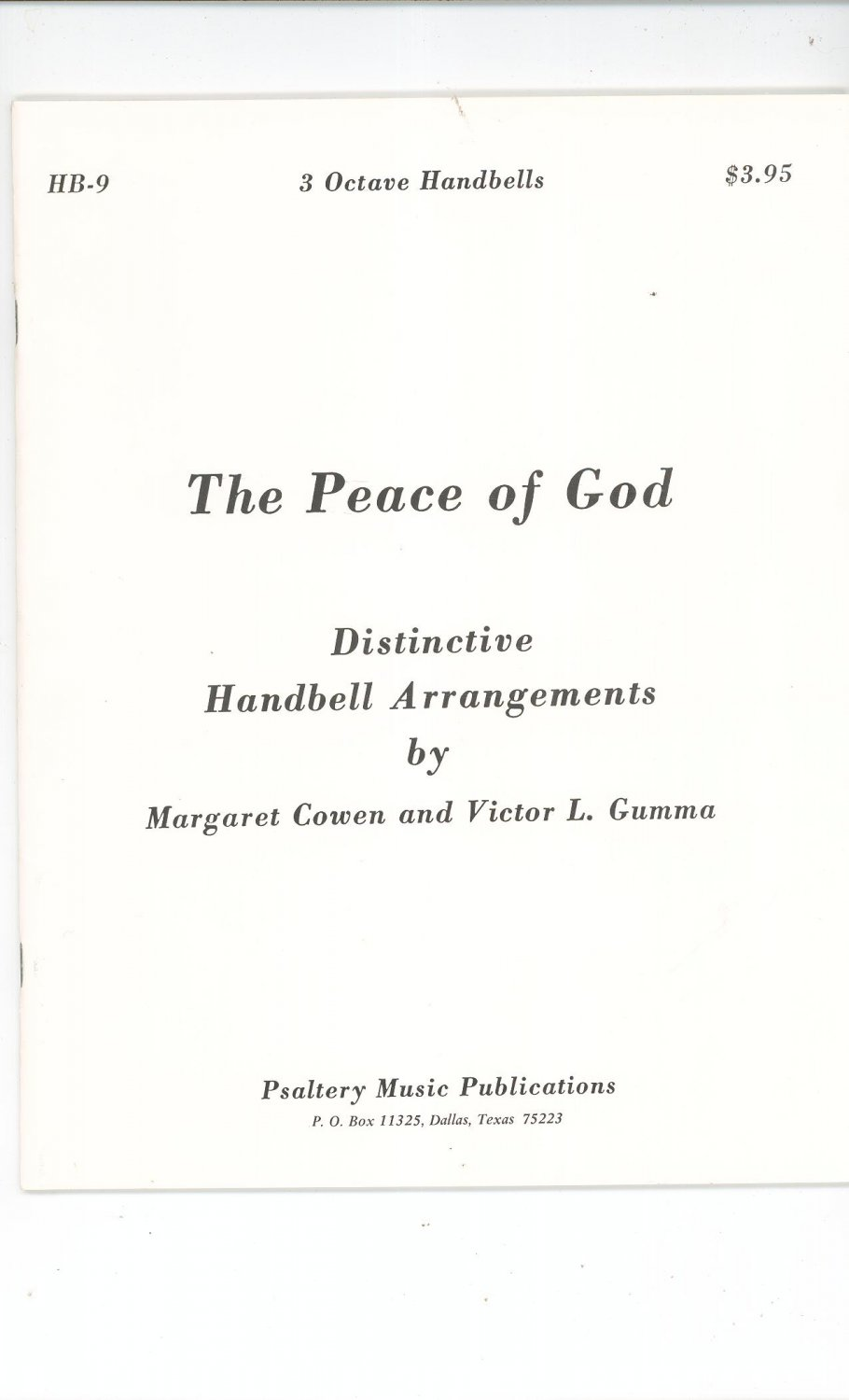 The Peace Of God Handbell Arrangements HB-9 By M. Cowen & V. Gumma