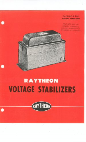 Vintage Raytheon Voltage Stabilizers Catalog 4 - 260