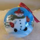 Welcome Snowman Glass Ornament By Long Zhang Complete With Box