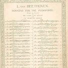 Vintage L. Van Beethoven Sonatas For The Pianoforte Op. 26 By Bulow & Lebert G. Schirmer