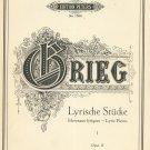 Vintage Lyrische Studke Morceaux Lyriques I Opus 12 Edition Peters No. 1269