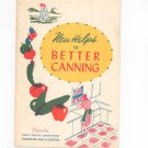 Vintage New Helps To Better Canning Cookbook Regional Rochester Gas Electric
