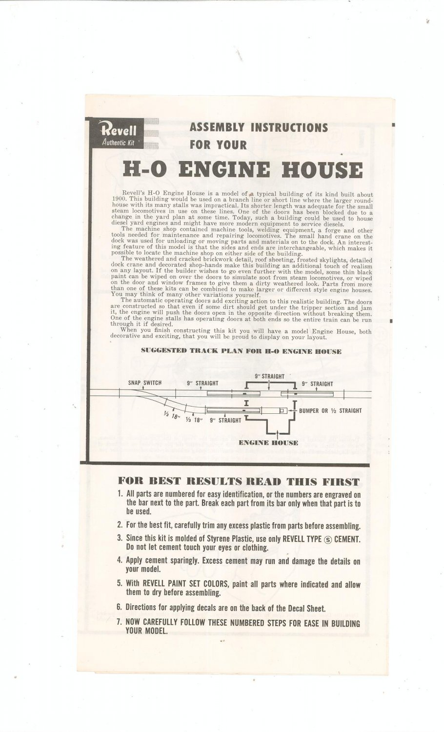Vintage Revell H-O Engine House Assembly Instructions 1959 T-9028 Train