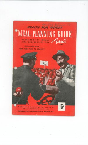 Vintage Health For Victory Meal Planning Guide Cookbook April 1944