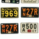 Lot Of 6 Assorted License Plates Miniature Delaware Utah Maine N.J. Plus Vintage