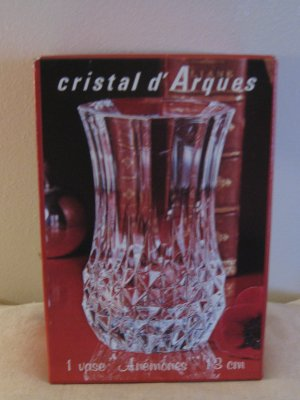 Lovely Pair Of Cristal d' Arques Anemones 13cm Lead Crystal Flower Vase France Never Used