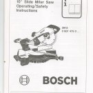 Bosch Slide Miter Saw Owners Manual 3915 0 601 475 0