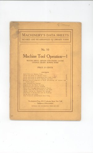 Machinery's Data Sheets Number 10 Machine Tool Operation 1 Vintage