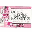 Quick Recipe Favorites Distinctively Different With 7 Up Cookbook / Pamphlet Vintage 1963