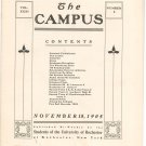 Vintage The Campus Newsletter University Of Rochester Volume XXXI Number 3 November 1905