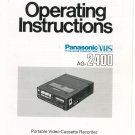 Panasonic VHS AG-2400 Operating Instructions Manual Portable VCR