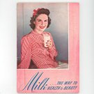 Vintage Milk The Way To Health & Beauty Cookbook By New York State 1939