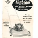 "Vintage Sunbeam Free Wheeling 20"" Rotary Mower RM20 Owners Manual"