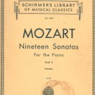 Schirmers Library Musical Classics Mozart Ninteen Sonatas For Piano Book II Volume 1306 Vintage