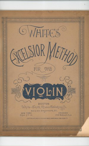 White&#039;s Excelsior Method For The Violin Music Book Vintage