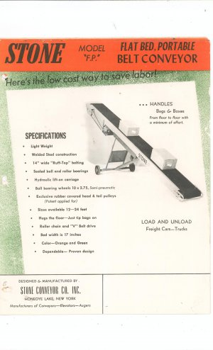 Stone Conveyor Leaflets / Brochures Model F.P.  F.S.  Vintage