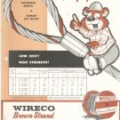 Wireco Brown Strand Wire Rope Catalog / Brochures Vintage 1960