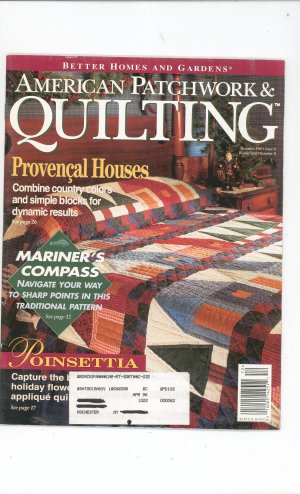 Better Homes And Gardens American Patchwork &amp; Quilting Back Issue December 1995 With Pattern
