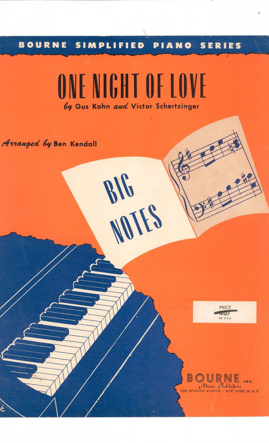 One Night Of Love Piano Sheet Music Vintage Bourne Inc.
