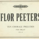 Flor Peeters Ten Chorale Preludes Organ Opus 68 Edition Peters Number 6023 Vintage