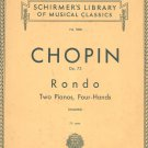 Chopin Op. 73 Rondo Two Pianos Schirmer's Library Classics Volume 1489 Vintage