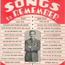 Songs To Remember Lyric Magazine Vintage September 1939