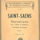 Saint Saens Variations Two Pianos Four Hands Schirmer's Music Classics 1449