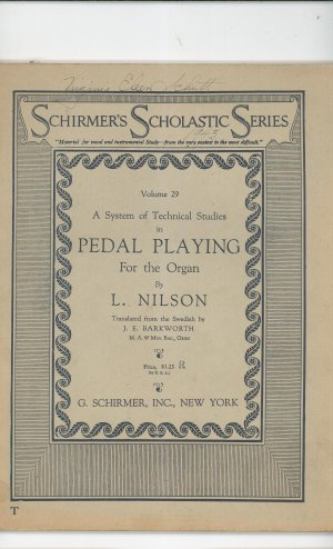 Schirmer's Scholastic Series Technical Studies Pedal Playing Organ Volume 29 Nilson Vintage