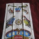 Ship Carving Tea Towel