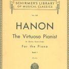 Vintage Schirmer's Library Vol. 1071 C. L. Hanon The Virtuoso Pianist Piano Book 1