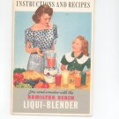 Hamilton Beach Liqui Blender Cookbook / Manual Vintage Item With Warranty Card