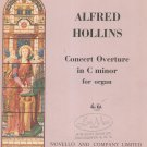 Alfred Hollins Concerto Overture C Minor Organ Sheet Music Vintage Lemar Recital No. 15 Novello