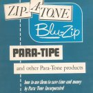 Vintage Para-Tone Catalog Zip-A-Tone Blue-Zip Para-Tipe