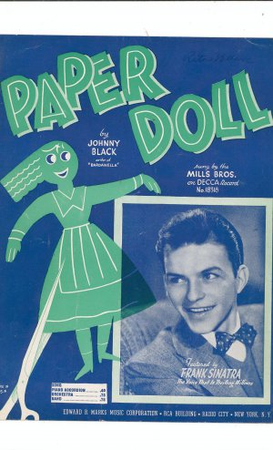 Paper Doll by Johnny Black Sheet Music Vintage