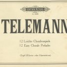 Telemann 12 Easy Chorale Preludes Edition Peters 4239