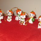 Lot Of 6 Miniature Mice With Santa Cap Ornaments Enesco