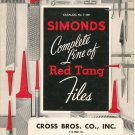 Simonds Complete Line Of Red Tang Files Catalog Number F-100 Vintage 1959