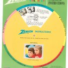 Vintage Zenith Chromacolor TV Hang Tag and Instruction Wheel & Numbers
