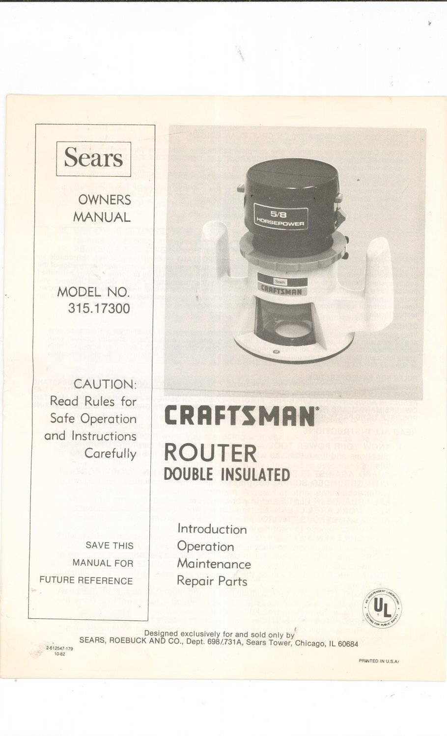 craftsman router model 315.174710 manual