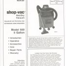 Shop Vac Wet Dry Vacuum Model 500 Owner's Manual Plus