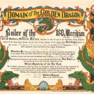 Vintage Domain Of The Golden Dragon Certificate 1947