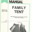 Sears Family Tent Owner's Manual 308.77281 Care Assembly Parts