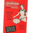 Sunbeam Controlled Heat Automatic Frypan Cookbook Manual Vintage