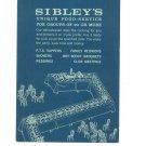 Vintage Sibley's Department Store Unique Food Service Menu / Brochure