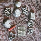 Vintage Lot Of 10 Assorted Rosette Irons & Timbale With Wood Handle Star Butterfly Heart Plus
