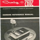 Vintage Craig 2602 Owners Reference Manual Portable Cassette Recorder
