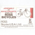 Ross Bicycles Assembly & Maintenance Manual Middleweight Not PDF