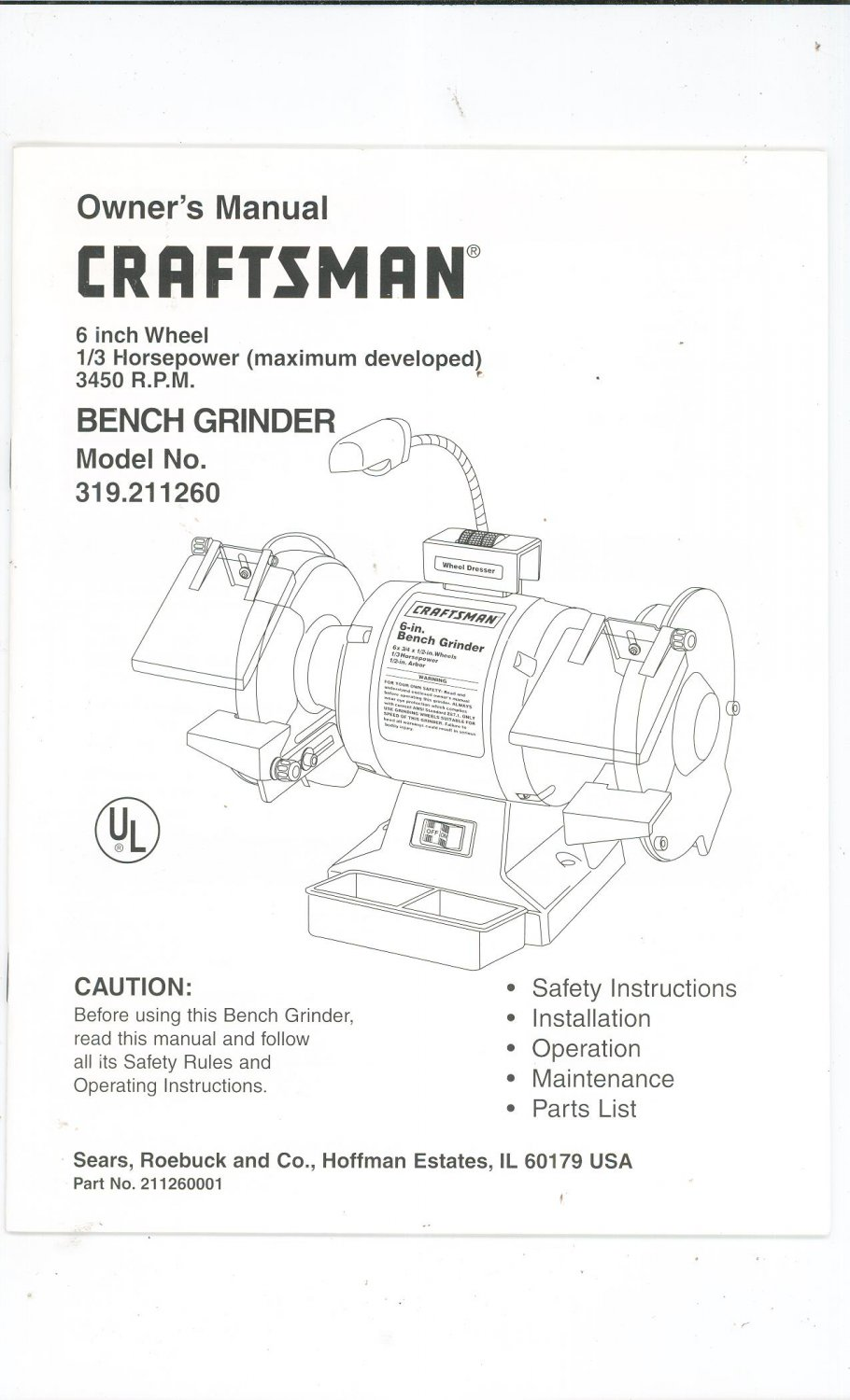 Sears Craftsman 8in Bench Grinder 319 190631 Wiring Diagram Free. Craftsman 6 Inch Bench Grinder 1 3 Hp New Vintage Heavy Duty Bg150 At Sears. Wiring. Gr150 Delta Bench Grinder Wiring Diagram At Scoala.co
